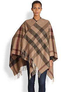 Burberry Wool Check Cape