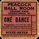 Good for one dance in the Peacock Ball Room at Seaside Park ~ Virginia Beach.