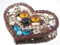 HUGE Rhinestone Heart Brooch Czech BIG by littleofeverything, $39.00