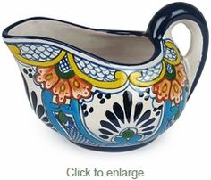 Mexican Talavera Gravy Boat - Margarita pattern