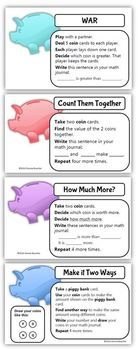 Math Coach's Corner: Coin Identification and Value Activity Cards with Ten-Frames FREEBIE.  Take the mystery out of coin values by connecting them to a familiar representation--ten-frames!  Includes: Activity cards showing coin pictures (front and back to scale), name, value (dollar sign and cent symbol), and a ten-frame representation of value; Teacher notes; Piggy Bank cards showing two representations (dollar sign and cent symbol); Workstation activity cards with math journal suggestions