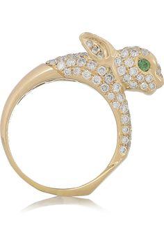 Diamond & Emerald Bunny Ring ** The PopDot Artist @AlabamaBYRD http://www.facebook.com/AlabamaBYRD Chirp Chirp & Big BYRD Smiles & Hugz