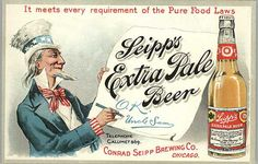 Chicago IL Seipp's Beer Bottle Uncle Sam Postcard Print