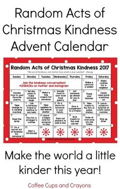 Bring some holiday cheer and teach the children about giving with this Random Acts of Christmas Kindness Advent Calendar! fllung Random Acts of Christmas Kindness Advent Calendar