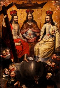 The Most Blessed Trinity enthroned, here shown as three identical Christ figures seated side by side; possibly Cuzco or Potosi school, c.17 century. The figures of Saint Joseph and Saint Ignatius Loyola complete the scene.