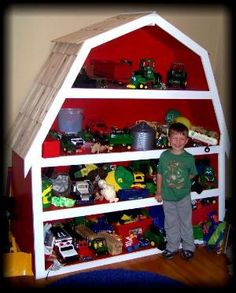 This is an actual toy barn. John Deere Room, Toy Barn, Toy Rooms, Toy Storage, My New Room, Play Houses, Kids Furniture, Diy For Kids, Kids Bedroom