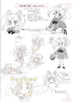 """うさぎ・スモールレディ・セレニティ(ちびうさ)のキャラクターデザイン character design sheet for Usagi Small Lady Serenity (Chibiusa) from """"Sailor Moon"""" series by Naoko Takeuchi"""