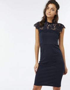 03c0504a05a9 MONSOON PAIGE NAVY HIGH NECK LACE PONTE EVENING PARTY PENCIL DRESS SIZE 14   fashion