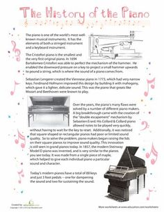 The piano is a tangible musical instrument. If you have the heart of a musician, you have to learn to play piano. You can learn to play piano through software and that's just what many busy individuals do nowadays. The piano can b Piano History, Piano Classes, Music Worksheets, Comprehension Worksheets, Comprehension Questions, Reading Comprehension, Piano Teaching, Learning Piano, Music Activities