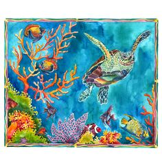 An original watercolor illustration of a sea turtle swimming around the fishes and coral