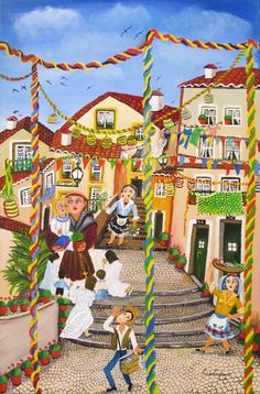 Santo Antonio, Santos Populares, Alfarma, Lisbon, Portugal  http://allartsgallery.com/paintings/paintings/1208/medium_Alfama__festas_Tradicionais_a_st__Ant_nio_de_Lisboa_60x40_AST.jpg?1309861171