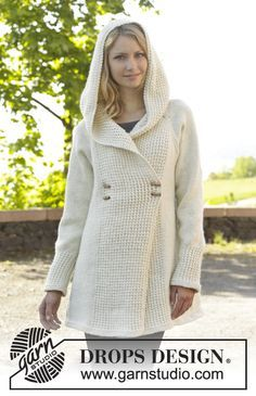 """Knitted DROPS jacket with raglan, hood and bamboo pattern, worked top down in """"Nepal"""". Size: S - XXXL. ~ DROPS Design"""