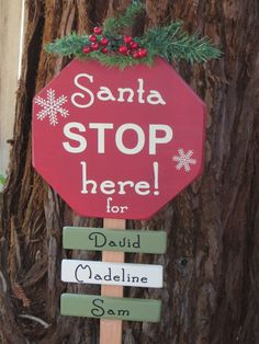 Santa Stop Here Yard Sign Christmas by DaisyBlossomCreation