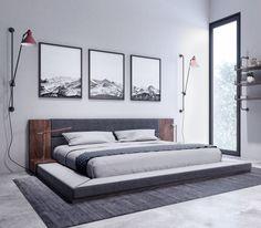 Nova Domus Jagger Modern Dark Grey & Walnut Bed - VIG Furniture Features: Upholstered in Dark Grey Polyester FabricWalnut Veneer FinishBuilt-In NightstandsSlats Included - No Box Spring RequiredBed Weight Capacity: 44 Modern Bedroom Furniture, Bed Furniture, Bedroom Decor, Modern Bedroom Sets, Furniture Design, Furniture Cleaning, Brown Furniture, Furniture Removal, Modern Bedroom Design