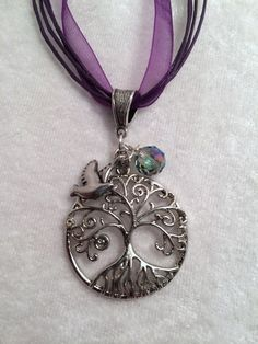 Tree of Life Pendant with Bird Charm and by Just4FunDesign on Etsy, $22.00