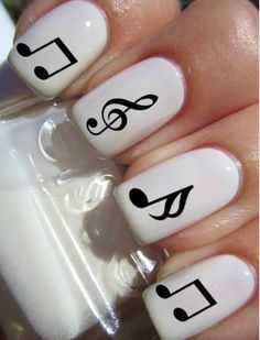 Music theme on white esse nail polish