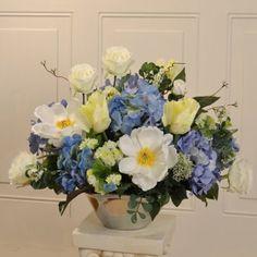 Blue and White Silk Flower Arrangement in Silver Vase AR391