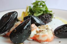 Anna Norris Lobster , Mussels nd wild black Risotto with Ruccola
