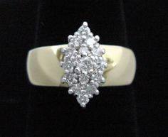 Gold & Diamond Ring 1/2CT Total on Wide 14K Yellow Gold Band, Genuine & Like NEW