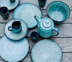 Broste Copenhagen//The Nordic Way of Life's 'Nordic' is in blue-grey tones with a strong hint of duck egg. It's textured stoneware surface has all the appeal of hand-thrown artisan ceramics.