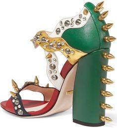 Gucci Embellished metallic sandals