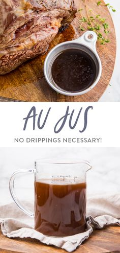 This au jus recipe is so rich and flavorful and can be made with or without drippings! Perfect alongside my easy prime rib recipe, for French dip sandwiches, or over beef and noodles. So much flavor, quick, and easy. French Dip Sauce, French Dip Au Jus, Rib Recipes, Sauce Recipes, Cooking Recipes, Recipies, Smoker Recipes, Real Food Recipes, Cooking Tips