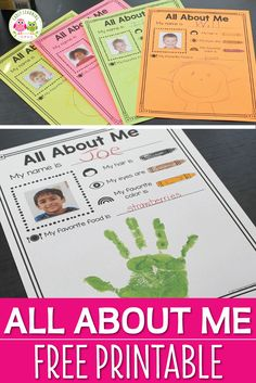A perfect activity for your All About Me preschool theme. Use this free one page printable to help kids share a few things about themselves. When complete you can add to a portfolio, give as a parent keepsake, or bind in a class book. The page is filled with images to help emergent readers understand the text.  Easily differentiated. Perfect for beginning of the year and all about me theme literacy center in preschool, pre-k, or kindergarten