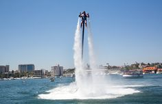 Thrill Ride Flies in the Face of Gravity, as Well as Cautious Officials By JENNIFER MEDINA AUG. 8, 2014 Claude Mokbel, a Jetpack America instructor, flying above Newport Beach Harbor, Calif. Concerns about noise and possible injuries led to a six-month moratorium on new jetpack businesses. Credit Monica Almeida/The New York Times