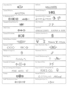 Silverware manufacturers' trademark identification CHART 1 (of 2): A - N. The manufacturer's mark can be found on the back of the fork or spoon handle. Use these images as a guide to identify your sterling silver manufacturer by trademark. ~ Beverly Bremer Silver Shop, 3164 Peachtree Rd, Atlanta GA 30305. 800-270-4009. beverlybremer.com