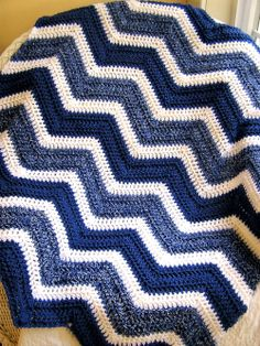 "ITEM #2435 / ALL VANNA WHITE YARN / SOFT / 'COLONIAL BLUE' & 'ANGEL WHITE' & 'DENIM MIST' / 36"" X 40"" / $75.00 & s/h / nhjaydee@aol.com"
