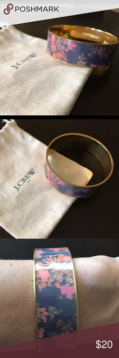 Floral Enamel JCrew Bangle NWOT - pink & purple floral enamel wide bangle J. Crew Jewelry Bracelets