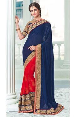 Picture of Tempting Red and Blue Indian Designer Saree