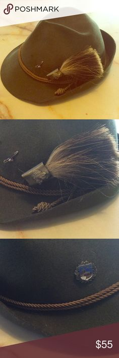 VINTAGE German Hat This is sooooo rad!!! Very Robin Hood... Gorgeous olive green hat with pins and a horsehair clip. Cord banding. GREAT CONDITION!!! **Looks like there is 1 pin missing next to the horsetail. Lembert Accessories Hats