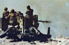 Artilleros del Ejercito Argentino (GADA 601) abriendo fuego directo con la batería antiáerea bitubo de 35mm Oerlikon Contraves, contra las tropas de la infantería del ejercito británico en los combates de Pradera del Ganso (Goose Green).Resultaron un arma letal en el tiro terrestre para el infanteria británica quedando la misma esparcida por el terreno.