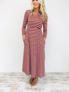 d1da6a8e0ba5 Canyon Wind Striped Maxi Dress in Marsala