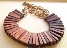 wooden+chain+link+necklace | Natural Wood Paddle Bead Necklace with Rustic by CandyDreamJewels, $52 ...