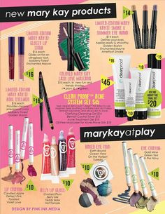 NEW and Limited Edition Mary Kay @ Play!! Very affordable prices and beautiful colors. To order contact me @ www.marykay.com/mmurillo223