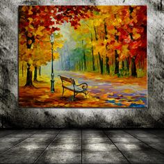 Park-tree-bench-Fallen-leaves-Woods-Landscape-Europe-Home-decor- & Ccedil × We share m Autumn Painting, Autumn Art, Painting Inspiration, Art Inspo, Acrylic Art, Painting Techniques, Painting & Drawing, Landscape Paintings, Watercolor Paintings