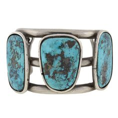 A. Brandt + Son - Vintage Sterling & Turquoise American Indian Cuff Bracelet