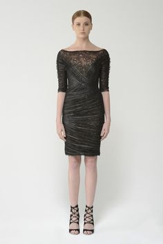 Shop this metallic french tulle dress with illusion v-neck and more at moniquelhuillier.com #MoniqueLhuillier