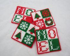 Plastic Canvas Christmas Coasters, Noel Coasters, Kitsch,Holiday Decor, Handmade