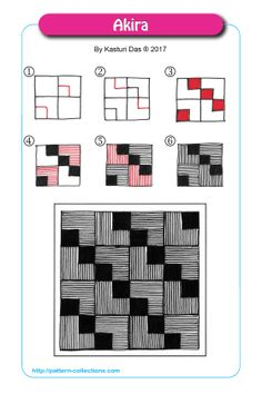 Drawing Doodles Ideas Akira by Kasturi Das - Many patterns start off with a grid. The most common grid is the square grid. You can draw a grid freehand or use a ruler. Patterns usually look a lot more interesting when you apply a distorted gr… Op Art, Zantangle Art, Zentangle Drawings, Doodles Zentangles, Doodle Drawings, Art Doodle, Tangle Doodle, Doodle Patterns, Zentangle Patterns