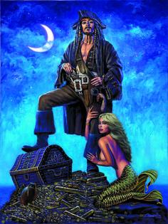 The Golden Mermaid Original - Mermaid & Pirate Plunder! Pirate Art, Pirate Life, Pirate Ships, Johnny Depp, Mermaid Canvas, Mermaid Artwork, Captain Jack Sparrow, Mermaids And Mermen, Pirates Of The Caribbean