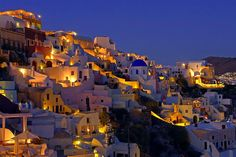 Oia by night, Santorini island, Greece - selected by www.oiamansion.com