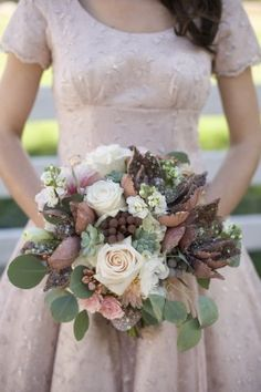 Copper Fall Bouquet  and beutiful dress behind too. Lovely colour and sleeves. :)