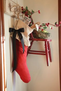 Christmas Stocking cotton red classic by atcompanyb on Etsy