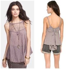 FP I Got My Eyelet On You tank top Delicate and flirty, this light brown neutral will be on repeat all summer long!! Bundle for discount Free People Tops Tank Tops