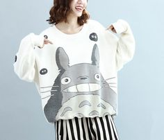 Cartoon Totoro loose Long Cotton sweatshirt