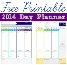 Free Printable 2014 Day Planner