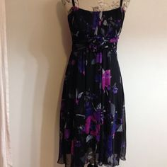 "Dressbarn Collection Black/Purple Dress 8 Cute dress. Excellent condition. Straps adjust. Bra area padded.  Ties in back. Side to side under arm 16"". Dress Barn Dresses"